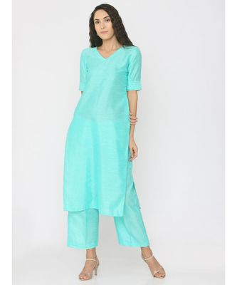 green plain silk kurta-sets