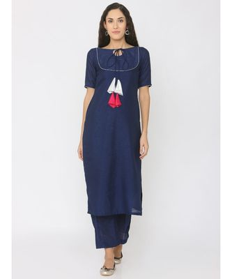 blue plain silk kurta-sets