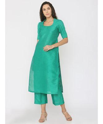 green plain silk kurta-sets