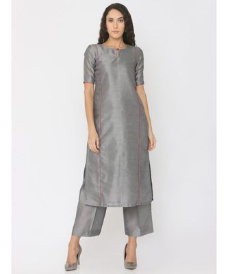 grey plain silk kurta-sets