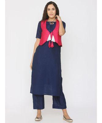 blue plain silk kurta-sets