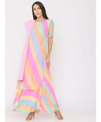 multicolor printed georgette kurta-sets