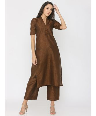 brown plain art silk suit