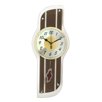Dark Brown Rectangle Wooden Wall Clock
