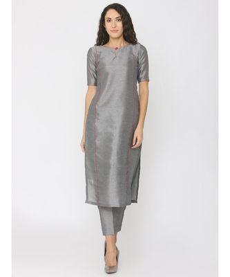 grey plain silk kurta-sets