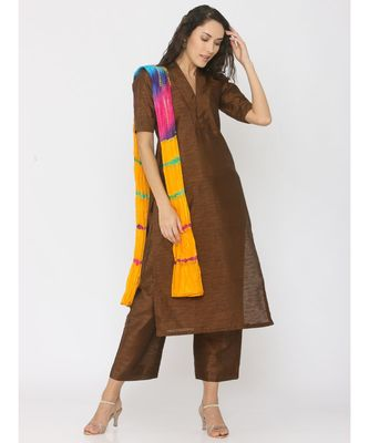 multicolor plain silk kurta-sets