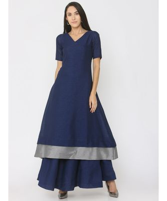 navy-blue plain silk kurta-sets