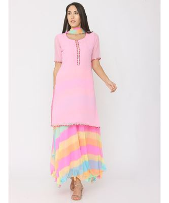 Short pink georgrtte kurti with rainbow leharia skirt and duppatta