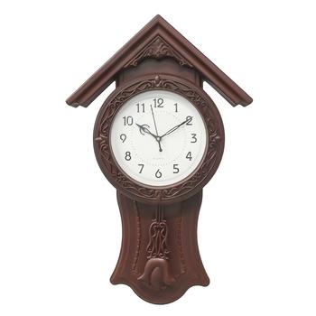 Brown Circular Dial Vertical Analog Pendulum Wall Clock (53Cm X 33Cm)