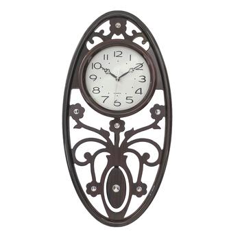 Brown Wooden Designer Circular Dial Vertical Analog Pendulum Wall Clock (50Cm X 25Cm)