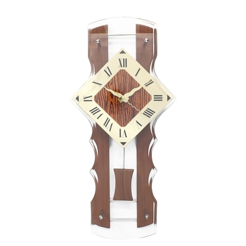 Brown Wooden Designer Vertical Analog Pendulum Wall Clock With Curved Glass Front Panel (50Cm X 24Cm)