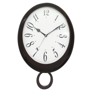 Brown Wooden Bell Shaped Analog Pendulum Wall Clock With Emobossed Numerals (43Cm X 28Cm)