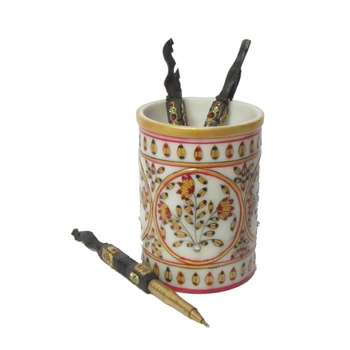 Floral Marble Pen Stand