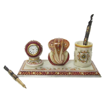 Lord Ganesha with Clock and Pen Stand