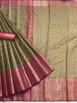 mahendi woven Banarasi Silk Saree With Attached Blouse