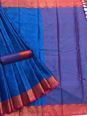 blue woven  Banarasi Silk Saree With Attached Blouse