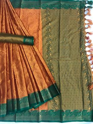 orange woven Banarasi Silk Saree With Attached Blouse