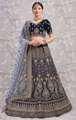 Navy blue Thread embroidered satin unstitched lehenga choli for bridal