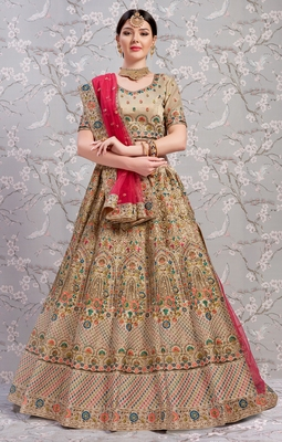 Beige Thread and Sequins embroidered silk Semi Stitched lehenga choli for bridal