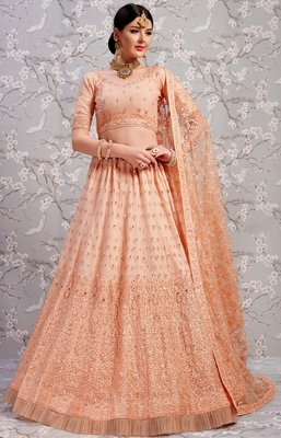 Peach Thread embroidered net unstitched lehenga choli for bridal