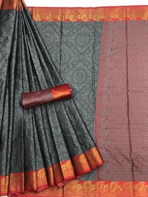 grey woven Banarasi Silk Saree With Attached Blouse