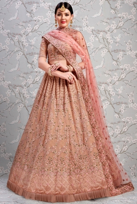 Baby Pink Thread Embroidered Georgette Semi Stitched wedding lehenga for Bridal