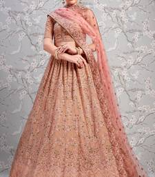 Baby Pink Thread Embroidered Georgette Semi Stitched bridal lehenga Choli For Bridal