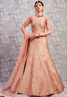 Beige Thread and Zari embroidered silk Semi Stitched lehenga choli for bridal