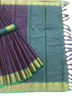 purple woven Banarasi Silk Saree With Attached Blouse