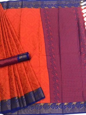 orange woven Banarasi Silk Saree With Attached Blouse