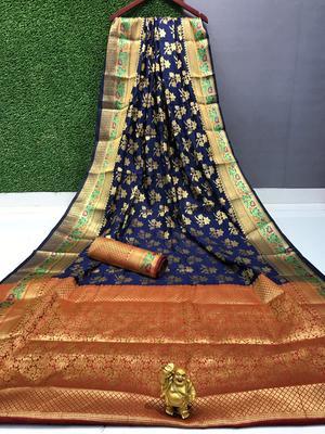 blue woven Pari Banarasi Silk Saree With Attached Blouse