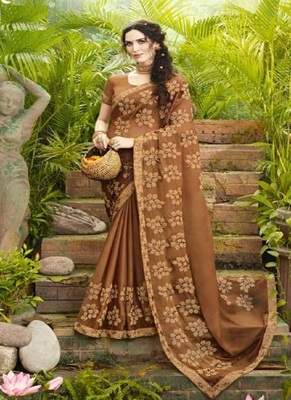 Brown embroidered fancy fabric saree with blouse