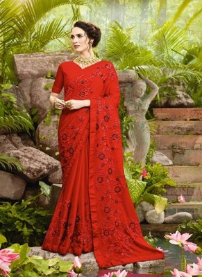 scarlet red embroidered fancy fabric saree with blouse