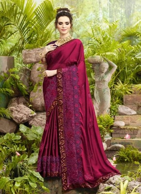 dark magenta embroidered fancy fabric saree with blouse