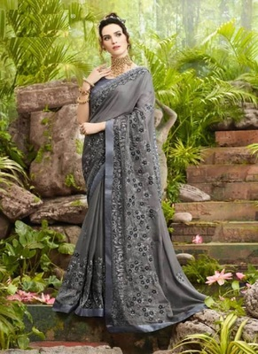 Grey embroidered fancy fabric saree with blouse