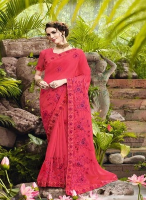 rani pink embroidered fancy fabric saree with blouse