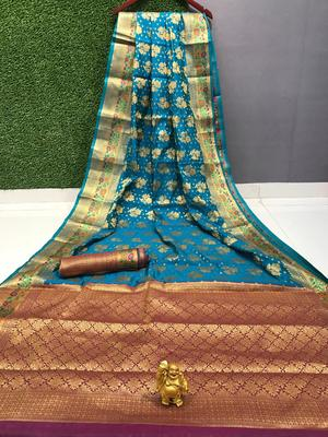 turquoise woven Banarasi Silk Saree With Attached Blouse