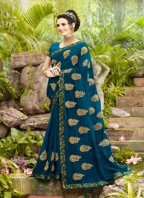 cyan embroidered fancy fabric saree with blouse