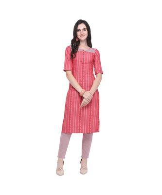 pink Chambray South Cotton Straight Women   s Kurta with Pant (SET)