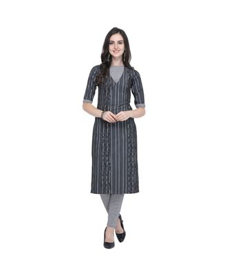 black Chambray South Cotton Straight Women's Kurta with Pant (SET)