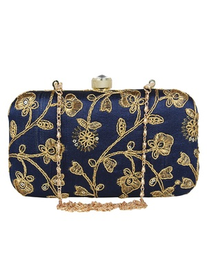 Tulle Embroidered Faux Silk Clutch Navy Blue & Gold