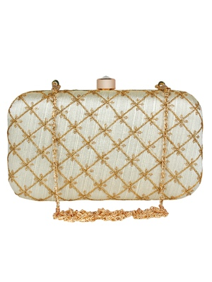 Tulle Embroidered & Embellished Faux Silk Clutch Off-White & Gold