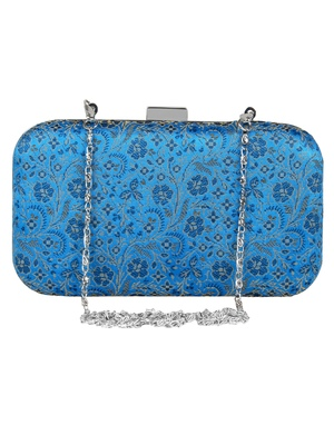 Tulle Printed Faux Silk Clutch Blue