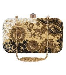 Adorn Embellished Faux Silk Clutch Beige & Multi