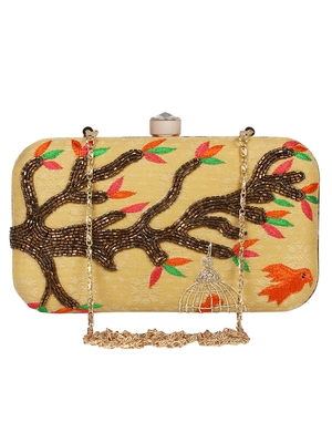 Adorn Embroidered & Embellished Faux Silk Clutch Beige & Multi
