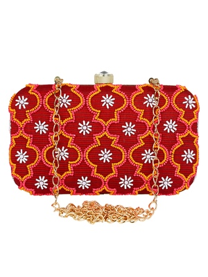 Adorn Embellished Cotton Polyester Clutch Red & Multi
