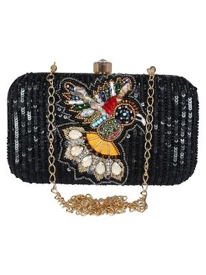 Adorn Embellished Faux Silk Clutch Black & Multi