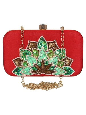 Adorn Embellished Faux Silk Clutch Red & Multi