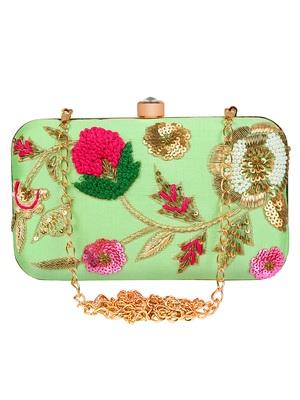 Adorn Embroidered & Embellished Silk Clutch Green & Multi