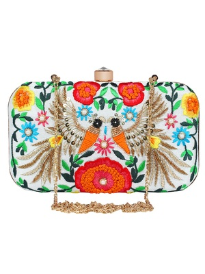 Adorn Embroidered & Embellished Faux Silk Clutch White & Multi